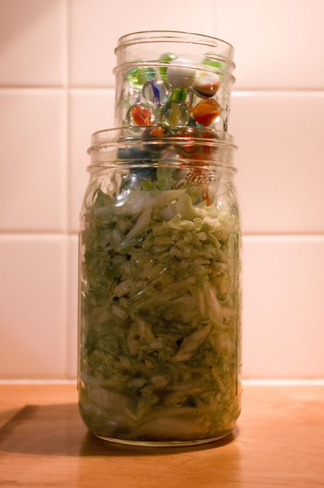 Sauerkraut mason jar set up
